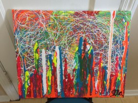 Abstract Acrylic 16 in x 20 in / 40.6cm x 50.8 cm Signed Ilka Oliva Corado Selling $100