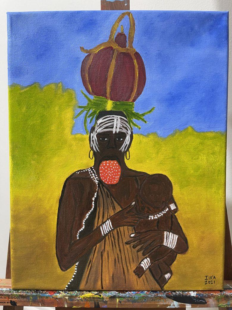 De la serie Mamá África. Mujer de la tribu Mursi, en Etiopía. Óleo sobre lienzo. Nombre: Sustento.