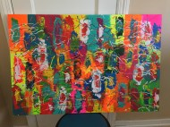 Abstract Acrylic 90 cm x 60 cm Signed Ilka Oliva Corado Selling $200