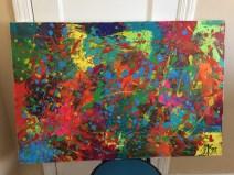 Abstract Acrylic 90cm x 60 cm Signed Ilka Oliva Corado Selling $200