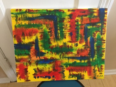 Abstract Acrylic Abstract Acrylic 16 in x 20 in / 40.6cm x 50.8 cm Signed Ilka Oliva Corado Selling $80