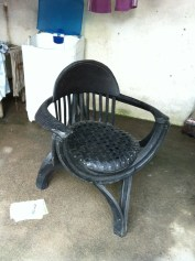 Chair made from rubber tires