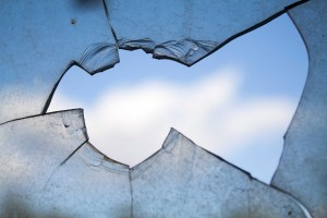 broken window and view of the sky