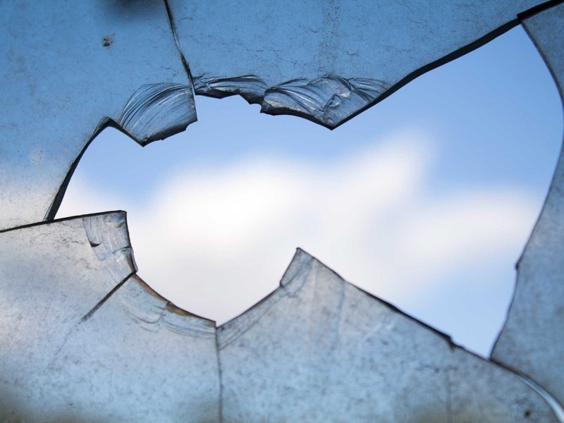 broken window and view of the sky