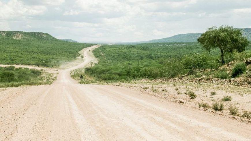 Carretera que conduce a las cataratas Epupa