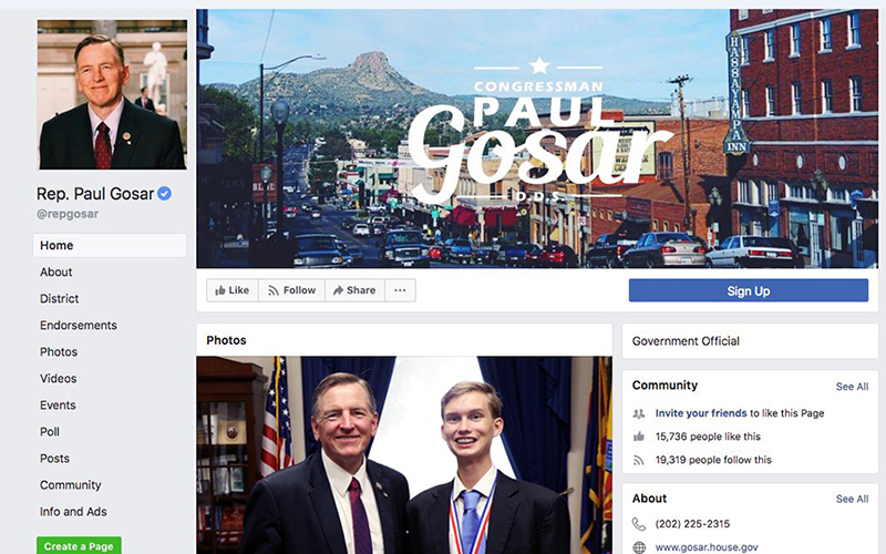Rep. Paul Gosar, R-Prescott, blocked, then restored a constituent's access to his official Facebook page, sparking a lawsuit and a debate over free-speech rights.