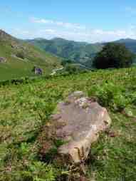 Menhir caído en el monte de Alkurruntz (valle Baztán, Navarra)