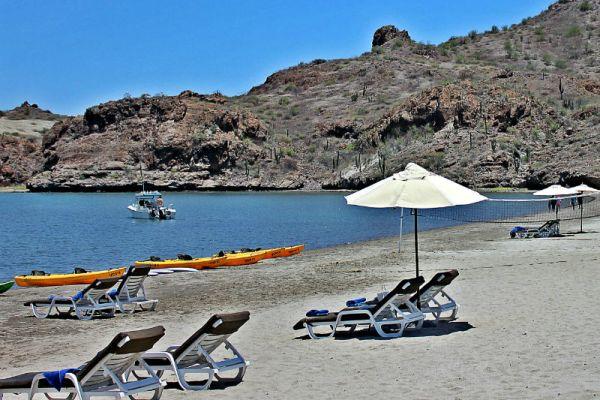 beach from at villa del palmar in loreto, mexico