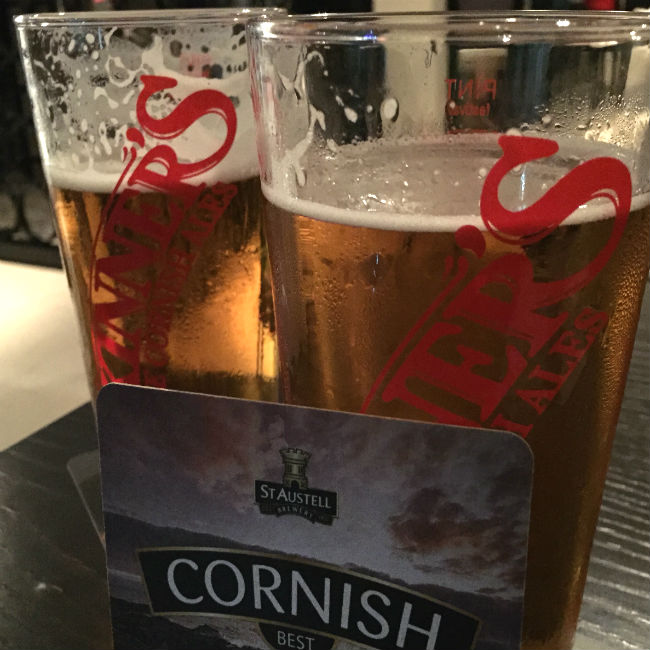 two pints of cornish cider in england