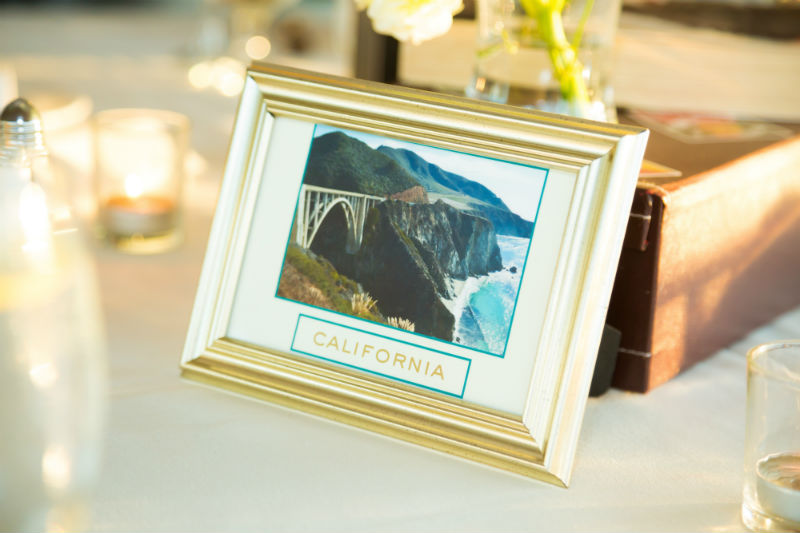 travel themed wedding table setting