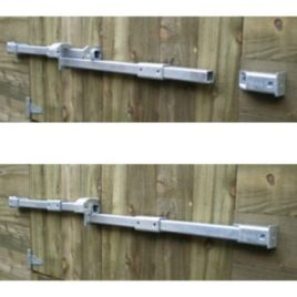 Crookstoppers double door shed door lock top open, bottom closed.