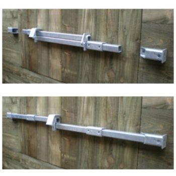 Crookstoppers shed door lock for single doors top open, bottom closed.