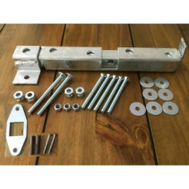 Crookstoppers door or gate bolt with all fixings, bracket and plate.