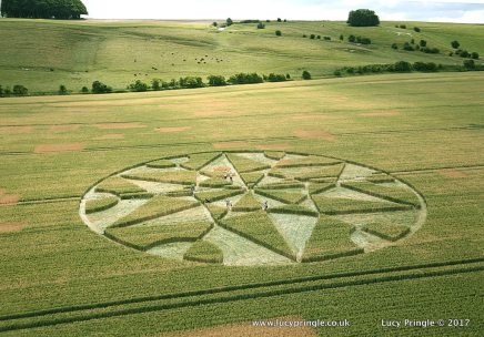 Hackpen, Wiltshire. 8 July 2017. Wheat. c.100 feet(30.5 m) diameter. A complex circle containing a six pointed star with central six-bladed rotor. On the inner edge of the circle sit six semi-circles.