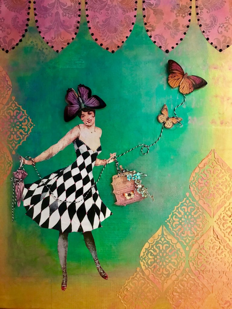 Harlequin Lady Mixed Media Canvas, Cheryl Mezzetti