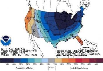 NOAA Climate Prediction Center Temperature Outlook