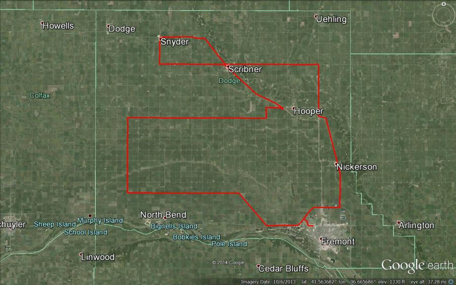 Figure 1. Dodge County driving route on June 23