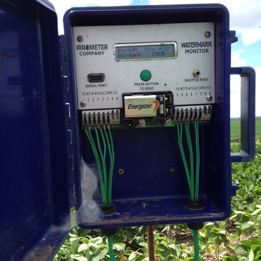 Figure 17. Soil moisture sensor for irrigated soybean treatments at Snyder for the Soybean Mgt. Field Day.