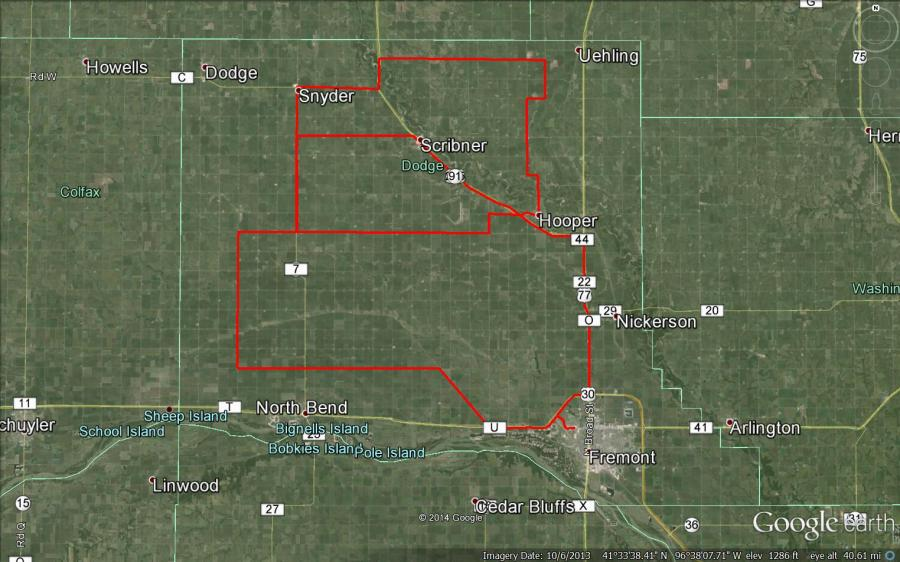 Figure 1: July 21st driving route for this crop report.