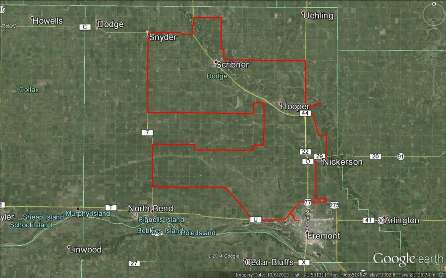 Figure 1. Driving route for the July 7th crop report