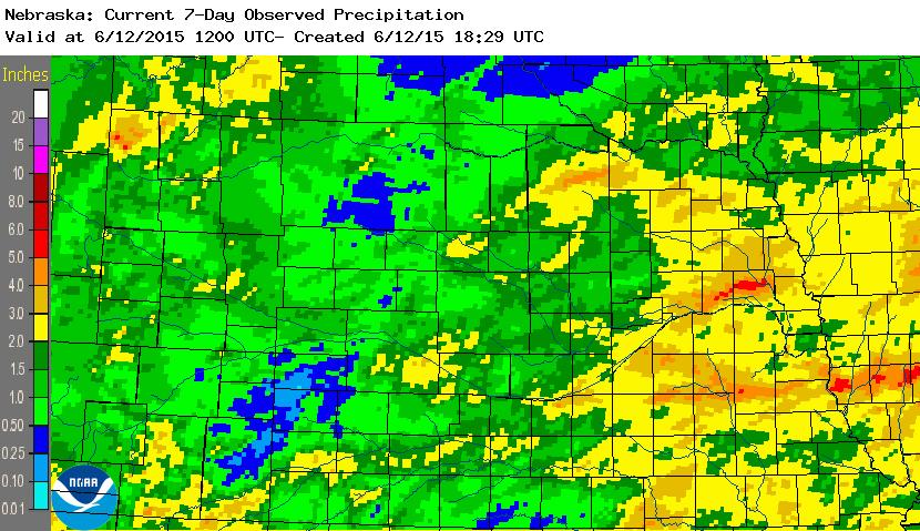 7 day rainfall totals in Nebraska