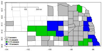 Nebraska map indicating locations of respondents