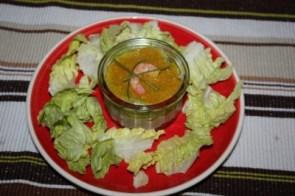 Verrine de thon, purée de poivrons, crevette.