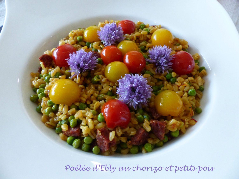 Poêlée d'Ebly au chorizo et petits pois P1100592 R