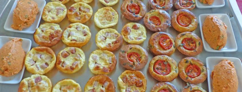 mignardises apéro Mini-quiches sans pâte & Petites bouchées aux tomates cerises- Tartinade au chorizo P1250318 R