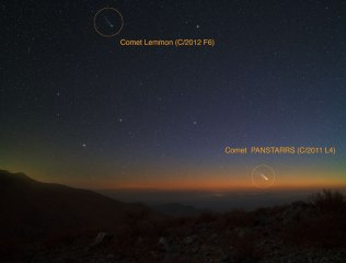 Comets Lemmon and Panstarrs, peaking