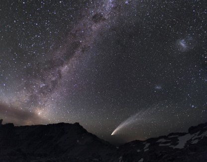 Three galaxies and a comet: Milky Way, LMC & SMC, and Comet McNaught