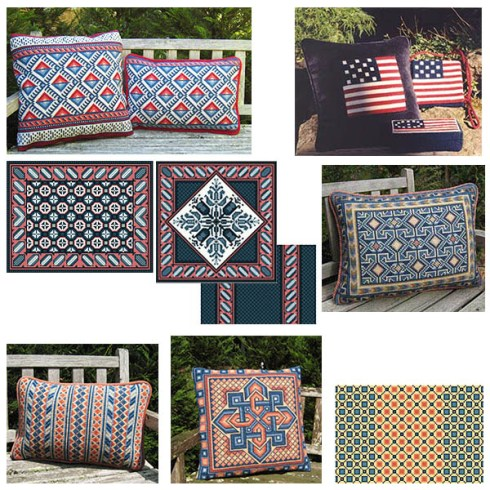 blue & red patterns in the cross-point Collection