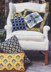 Blue & yellow pillows in the cross-point Collection
