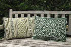 2 color coordinated pillows Morocco Stripe 07 and Pisac 07
