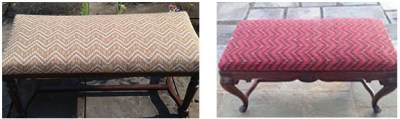 two custom upholstered benches