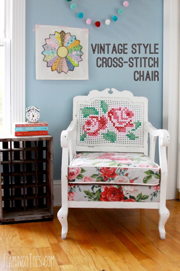 Vintage-Style-Cross-Stitch-Chair-Redo