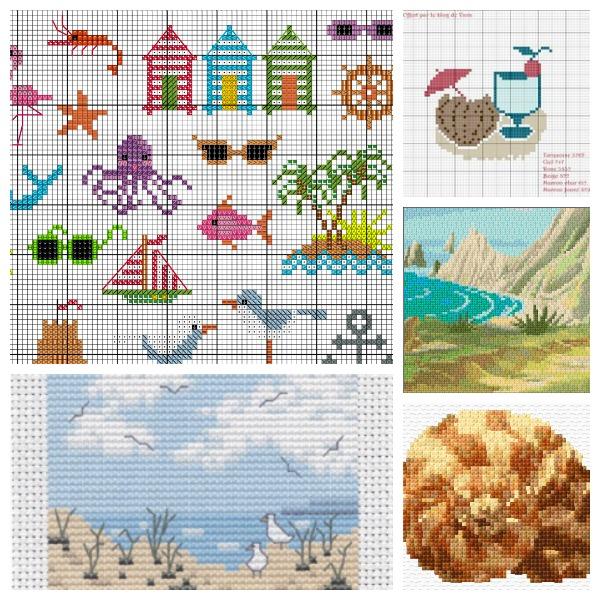 Beach-themed cross-stitch patterns.