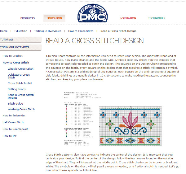 DMC guide to cross stitch basics