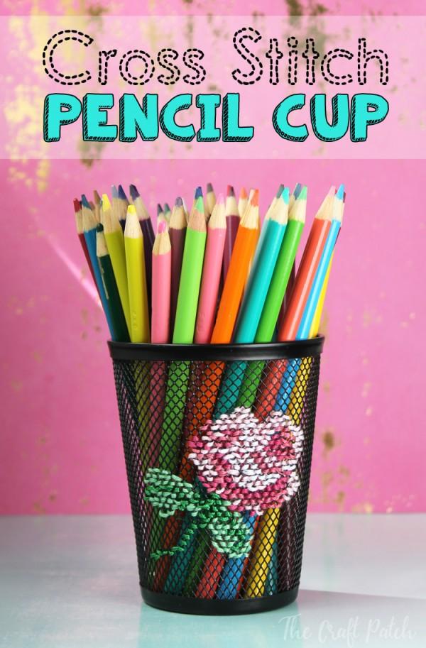 stitch a cross stitch design on a pencil cup