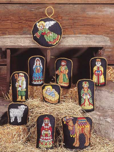 Cross stitch nativity scene