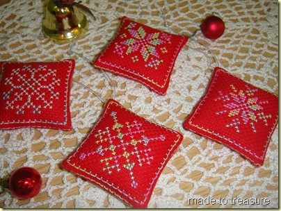 cross stitch snowflake ornaments