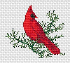Cardinal in winter cross stitch pattern