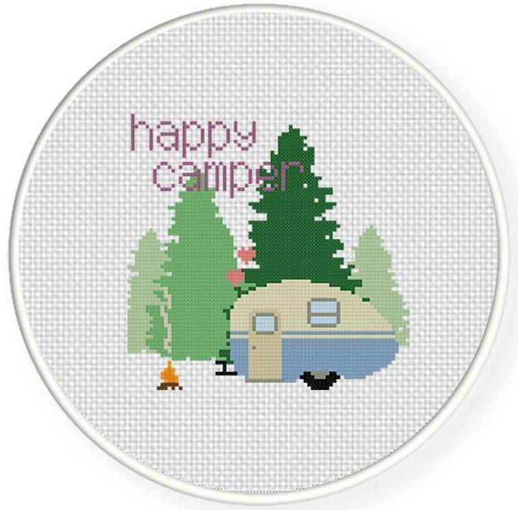 happy camper cross stitch pattern