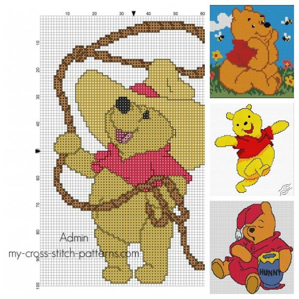 Free Winnie the Pooh cross stitch patterns.
