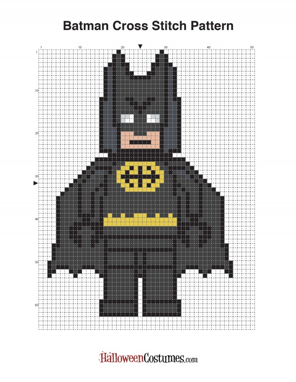 Lego Batman cross stitch charts.