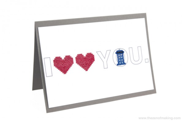 Doctor Who cross-stitched valentines