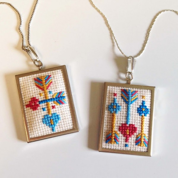heart and arrow cross stitch pendants