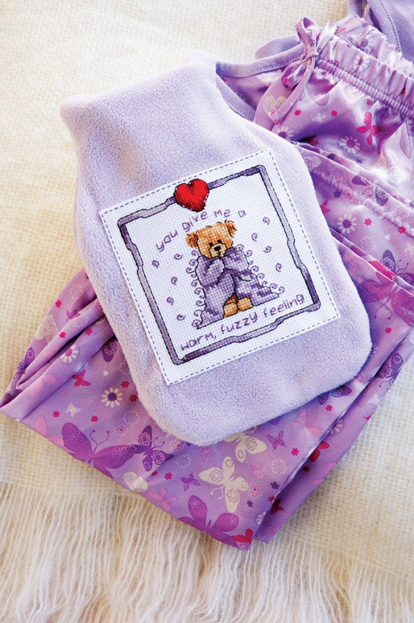 Cross stitch design for a homemade hot water bottle cover
