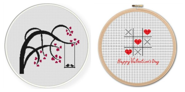 A couple of cute paid valentine's day cross stitch patterns.