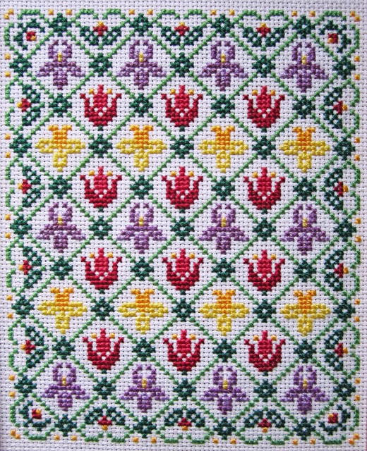 spring flowers cross stitch chart